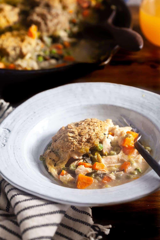 gluten-free chicken pot pie in a bowl
