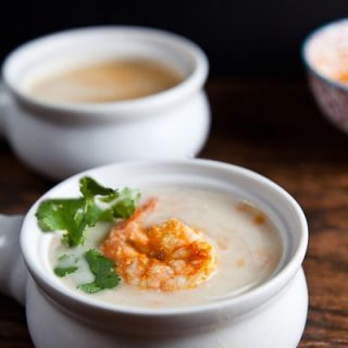 Creamy Cauliflower Soup with Piri Piri Shrimp