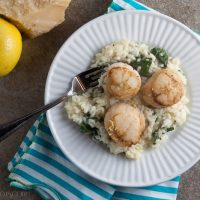 Lemon Risotto with Seared Scallops #SundaySupper