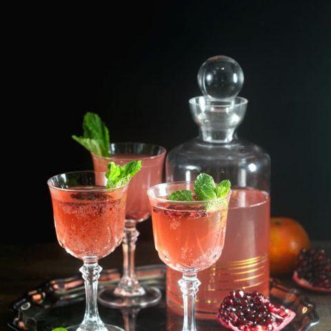 Sparkling Pomegranate Tangerine Rum Punch