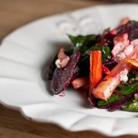Roasted Root Vegetables with Blue Cheese Vinaigrette