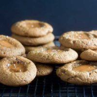 Gingerbread Caramel Thumbprint Cookies