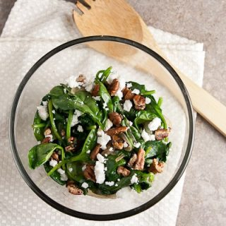 Wilted Spinach Salad with Chevre & Pecans