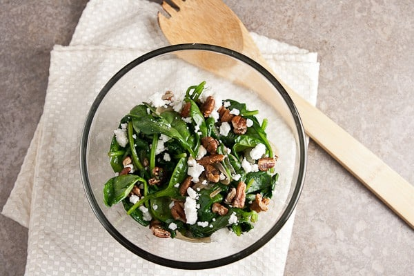 Wilted Spinach Salad with Chevre & Pecans 1