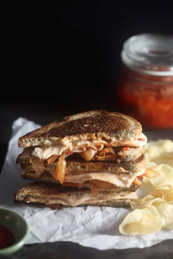Grilled Turkey and Kimchi Melt with Sriracha Cream Cheese 1