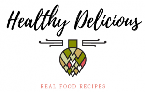 healthy delicious logo - art deco artichoke with real food recipes underneath