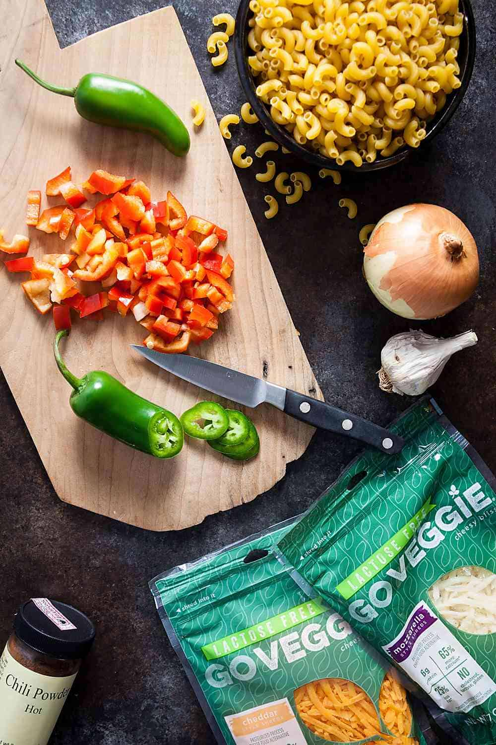 ingredients for vegetarian chili mac with go veggie cheese