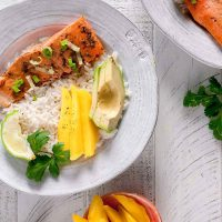 Jerk Salmon Avocado Rice Bowl
