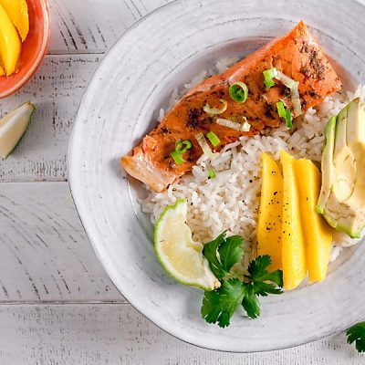 Jerk Salmon Avocado Rice Bowls