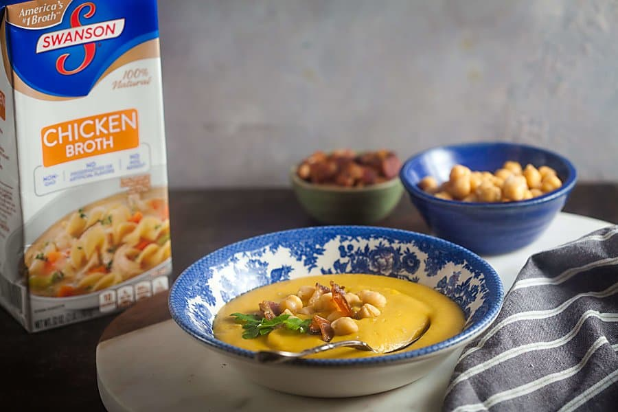 Creamy Chickpea Soup with Bacon with Swanson Chicken Broth