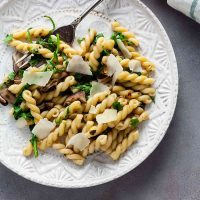 Gemelli with Mushrooms and Arugula