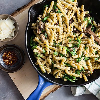 Gemelli with Mushrooms + Arugula (Vegetarian, Gluten-Free Option)