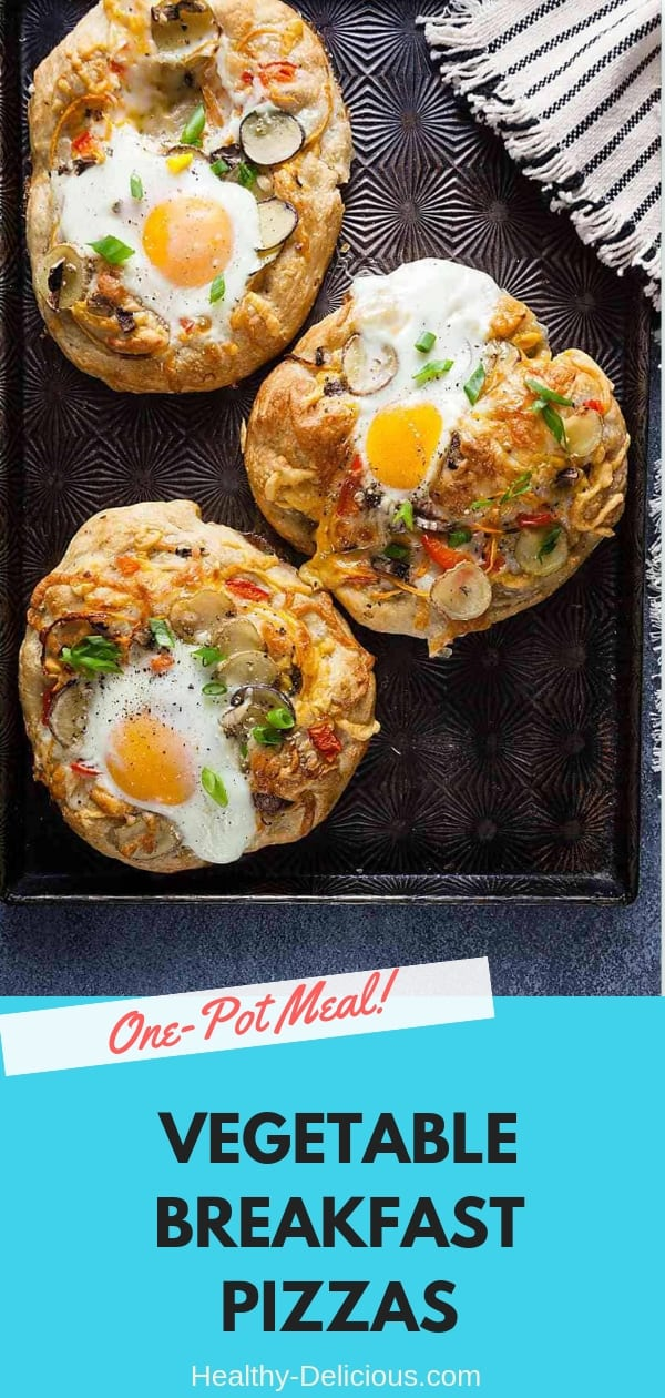 These mini vegetable breakfast pizzas are loaded with toppings - from red bell peppers to butternut squash.