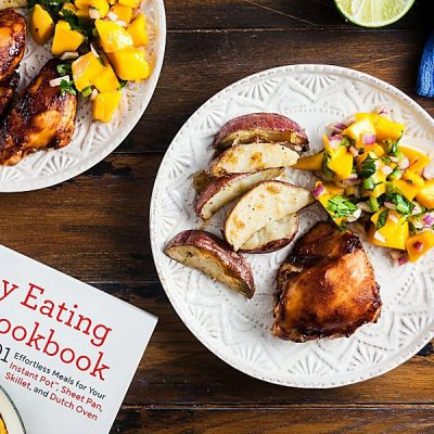 Sheet Pan BBQ Chicken with Mango Salad from Healthy Eating One-Pot Cookbook