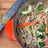 Warm Soba Noodle Salad with Grilled Shrimp