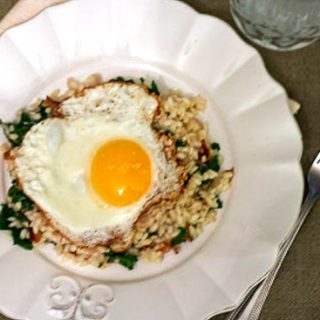 Bacon & Kale Risotto with a Fried Egg