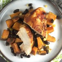 Roast Honey-Chipotle Chicken with Sweet Potatoes & Black Beans