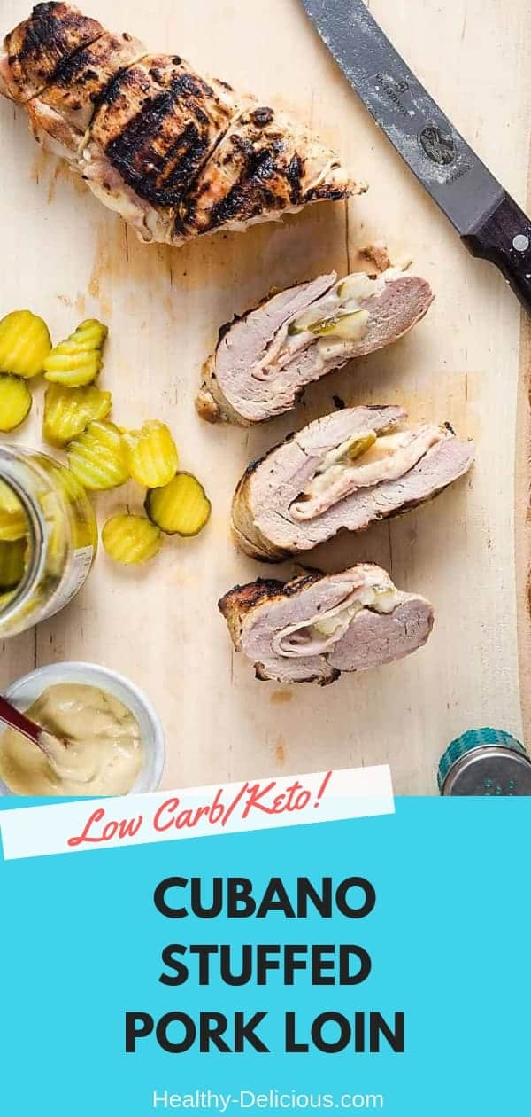 A Cubano, but make it low carb! This pork tenderloin is marinated in garlicky mojo, then stuffed with ham, Swiss cheese, pickles, and mustard. Yum!