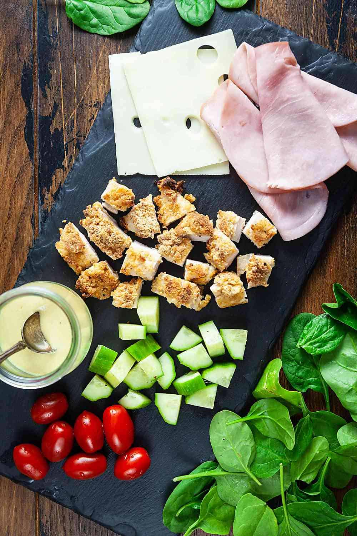 Ingredients for chicken cordon bleu salad