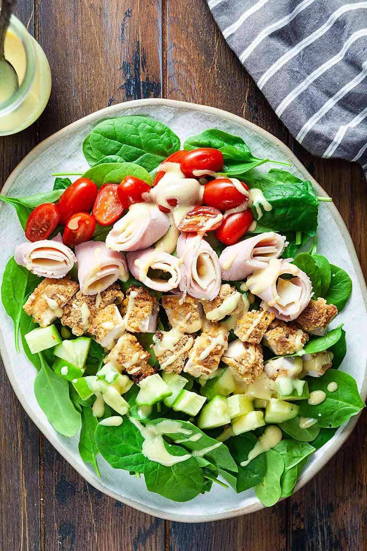 Air Fried Chicken Cordon Bleu Salad on a platter