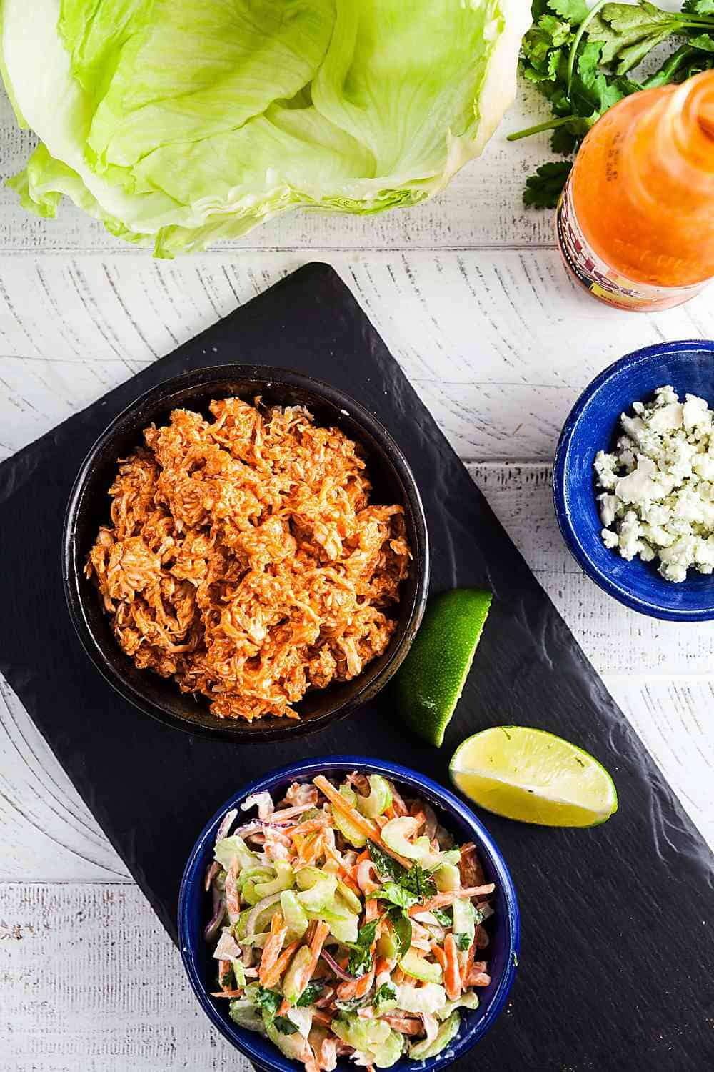 Ingredients to make Buffalo chicken lettuce wraps