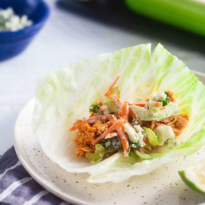 buffalo chicken lettuce cup with carrot slaw