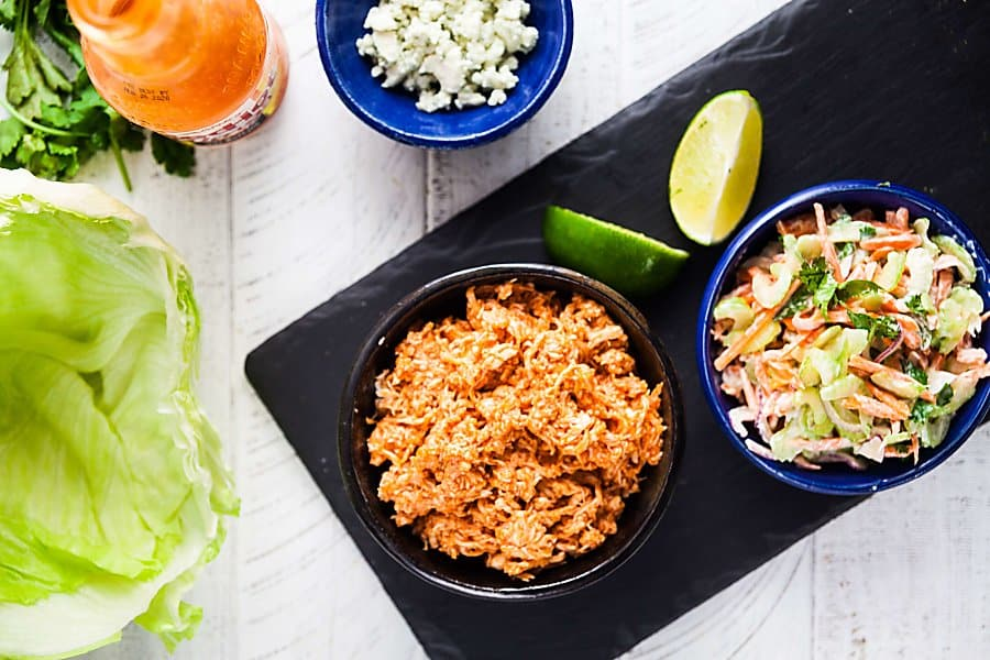 ingredients for Buffalo chicken lettuce wraps recipe