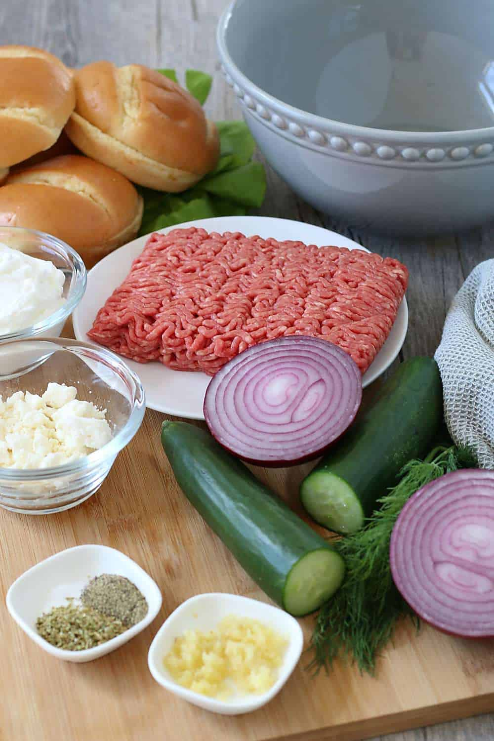 Ingredients necessary for making my Greek burger recipe shown before we begin.