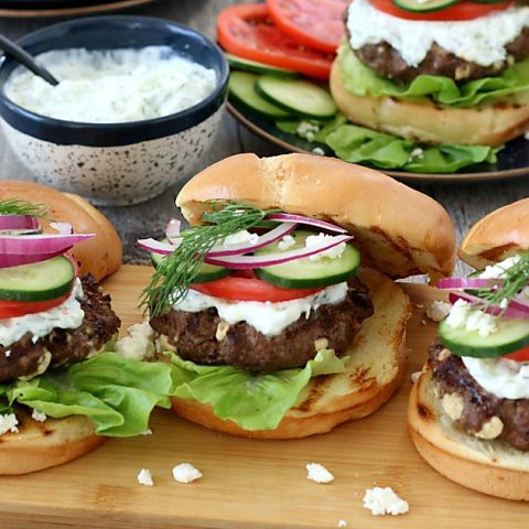 Greek Burger with Feta and Tzatziki