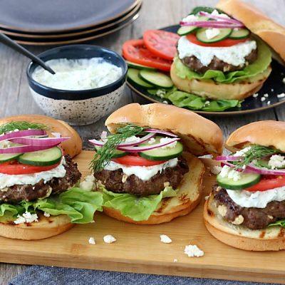 Greek Burger with Feta and Tzatziki