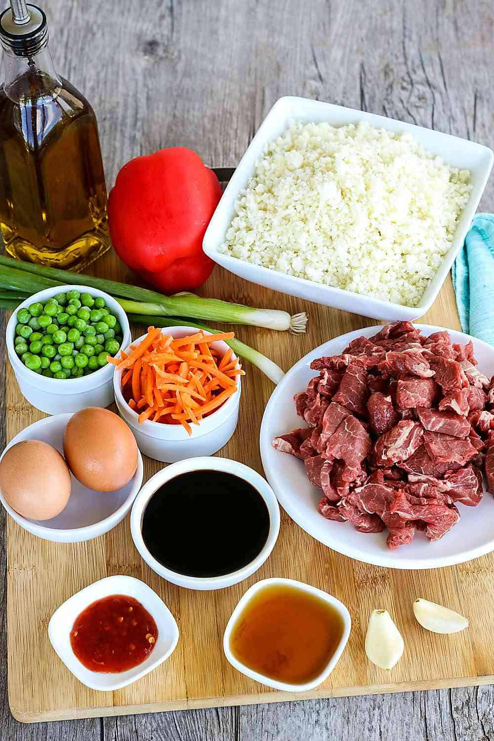 Ingredients for a Cauliflower Rice Beef Stir Fry.