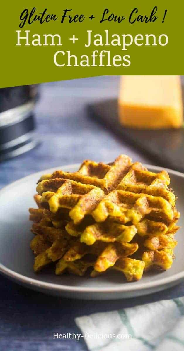 Savory Chaffles with Ham and Jalapenos