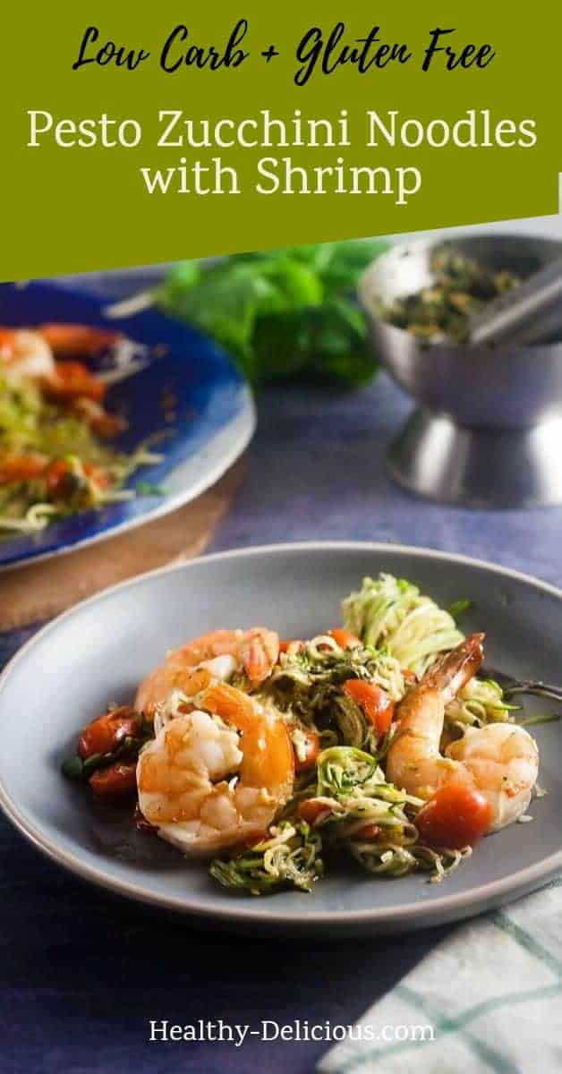Pesto Zucchini Noodles with Baked Shrimp (Low Carb, Gluten Free) 1