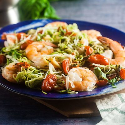 Pesto Zucchini Noodles with Baked Shrimp (Low Carb, Gluten Free)