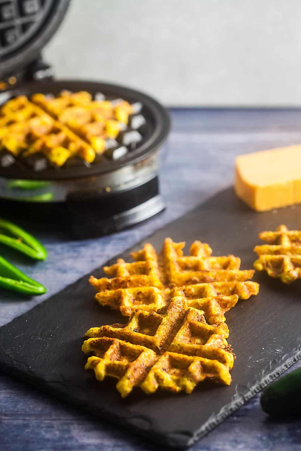 platter of savory chaffles with a waffle iron