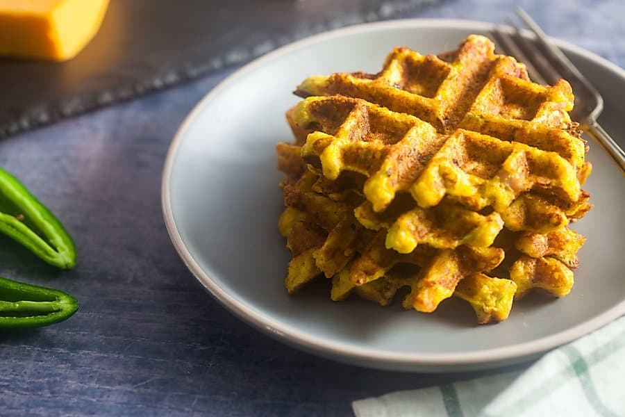 Savory Chaffles with Ham and Jalapenos (Low Carb, Gluten Free) 20