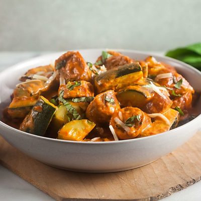 Zucchini and Sausage in Pink Sauce