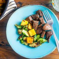 Rosemary-Balsamic Sirloin Tip Steak with Fall Vegetables