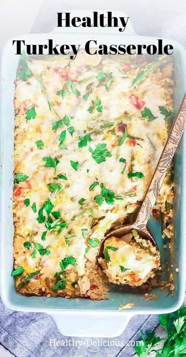 Low carb turkey casserole, made with cauliflower rice, green beans, and cheddar cheese can be on the table in under 45 minutes. It's the PERFECT way to use up your leftover turkey from Thanksgiving, but you can easily make it any time of year. via @HealthyDelish