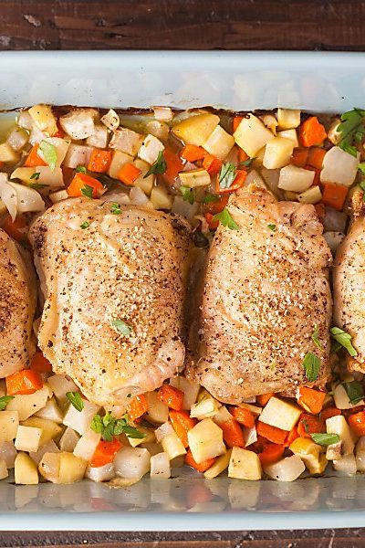 crispy baked chicken thighs with root vegetables