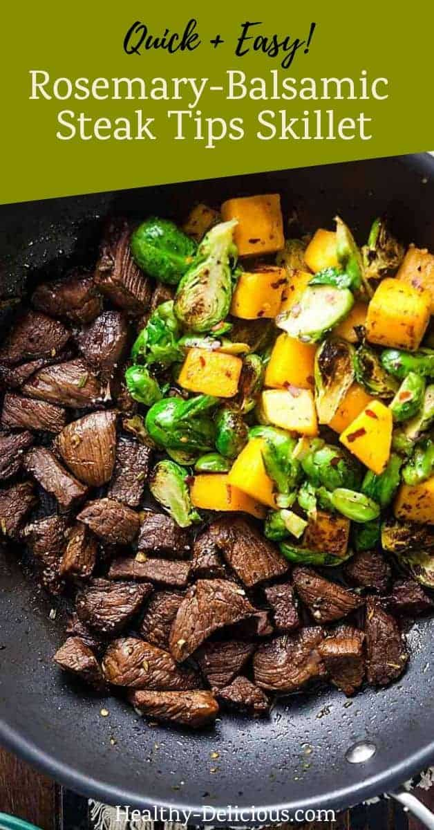 This easy recipe for rosemary-balsamic steak tips with Fall vegetables is perfect for chilly weeknights. The perfect balance of sweet, sour, and spicy flavors will have you begging for more!