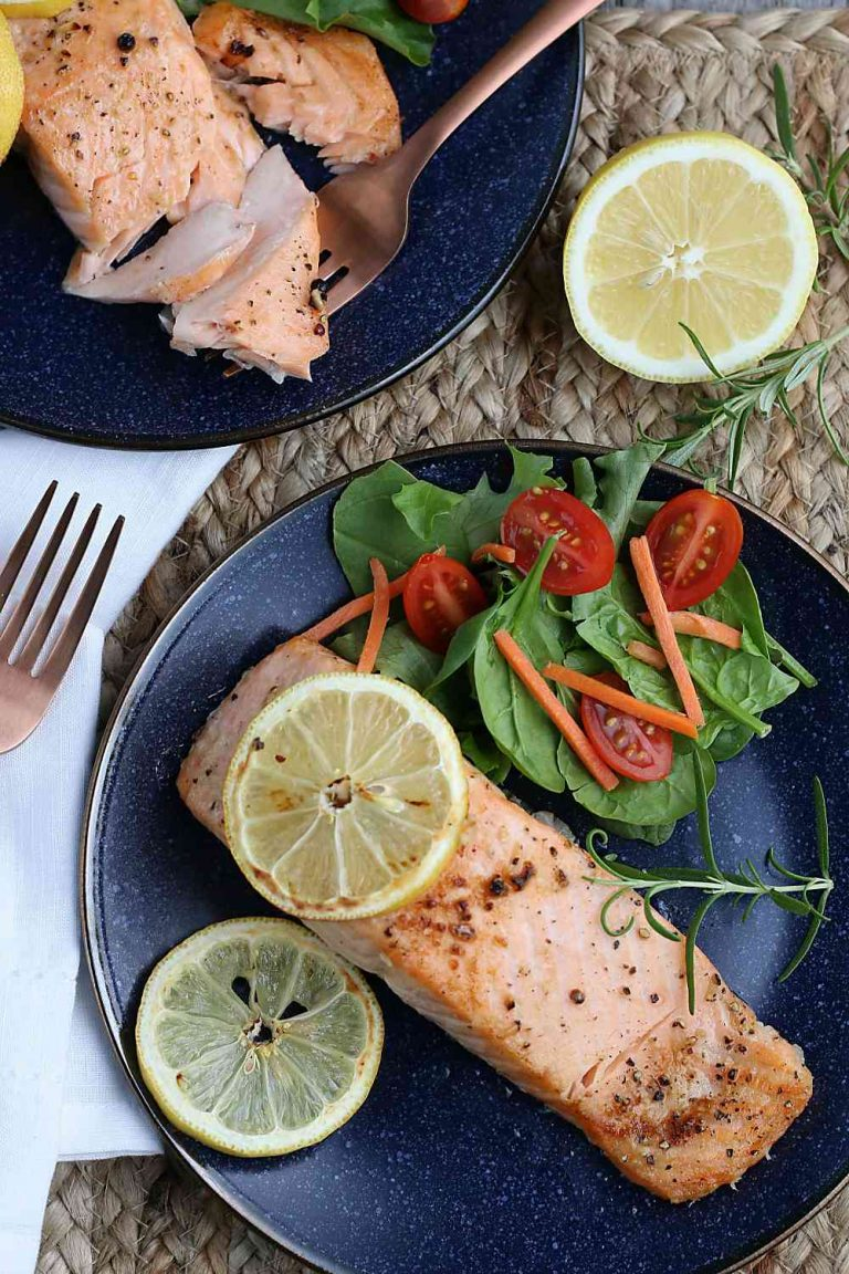 A top down view of the finished healthy salmon recipe that the whole family will enjoy.