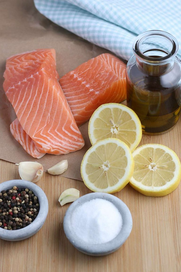 Here we see the ingredients needed to make an air fryer salmon recipe.