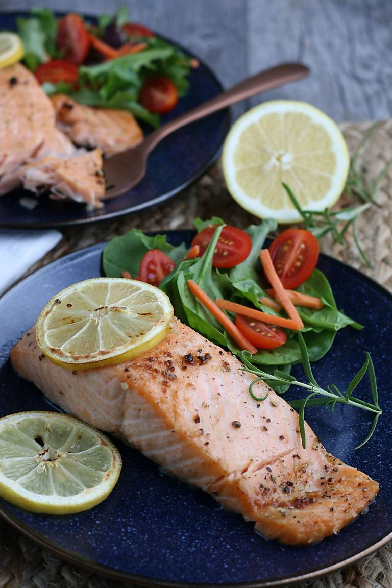 A plate of the lemon salmon finished and ready to be served. An easy air fryer salmon to enjoy!