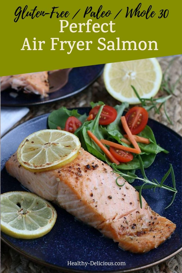 Perfect salmon fillets are easy to make - just pull out your air fryer! The healthy recipe is seasoned simply with lemon and garlic so you can enjoy the salmon plain or as part of other recipes. This method of cooking salmon is practically foolproof - you'll never want to cook it in a pan again! #airfryer #easy #airfryer #airfryerrecipes