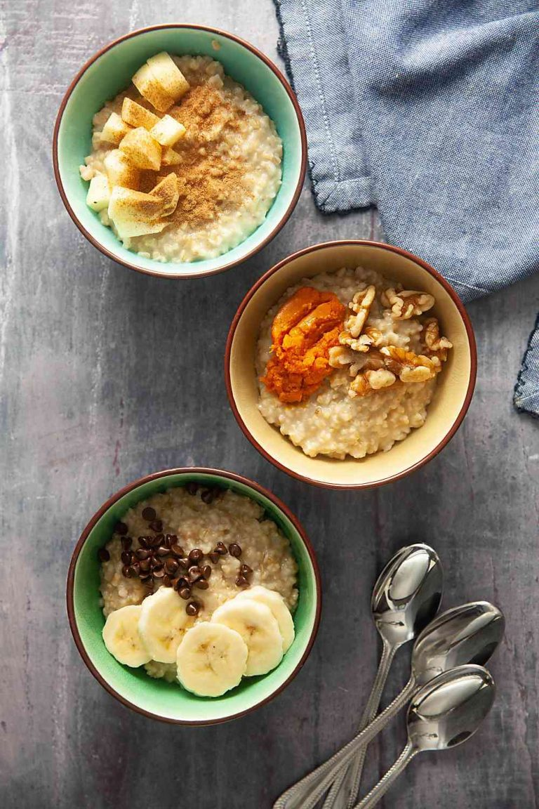 three bowls of instant pot steel cut oats with various toppings