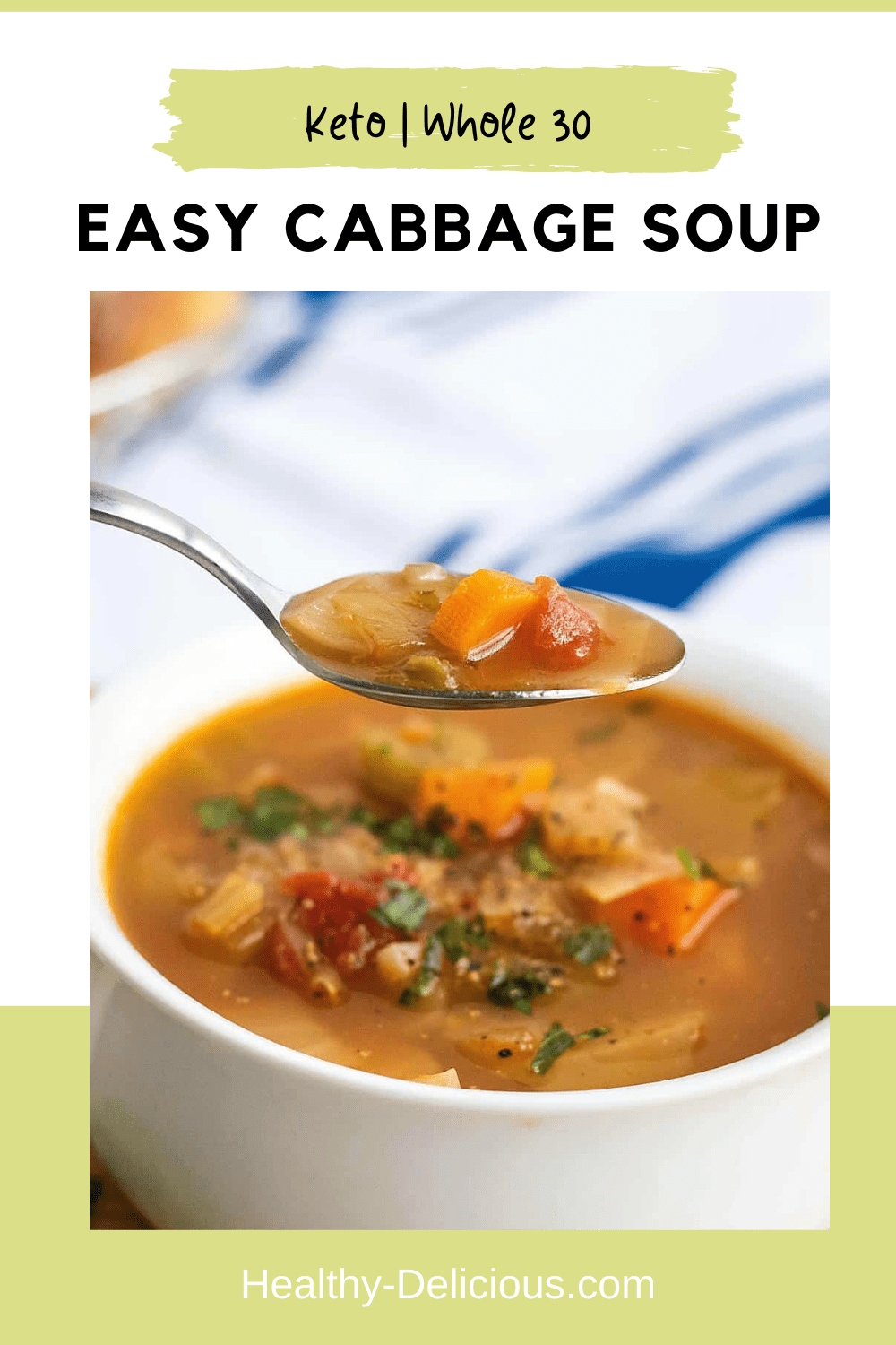 This flavorful cabbage soup comes together in just about a half hour. It's a great way to warm up on a chilly day - or freeze it for later! It's vegetarian, low carb, and gluten-free as written, but you can make it your own by adding meat or beans. via @HealthyDelish
