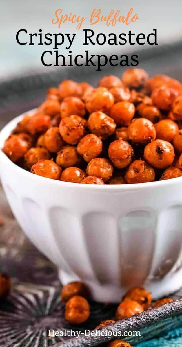 Spicy Buffalo roasted chickpeas are a great healthy snack! These crispy chickpeas come out great in your oven or in an air fryer. They make a great vegetarian and gluten-free alternative to chicken wings for snacking or on a salad. You'll love their bold, spicy flavor.