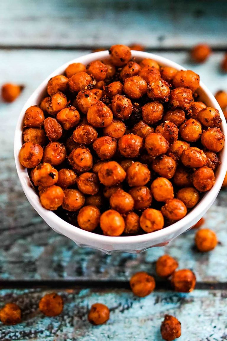 closeup photo of buffalo roasted chickpeas in a bowl