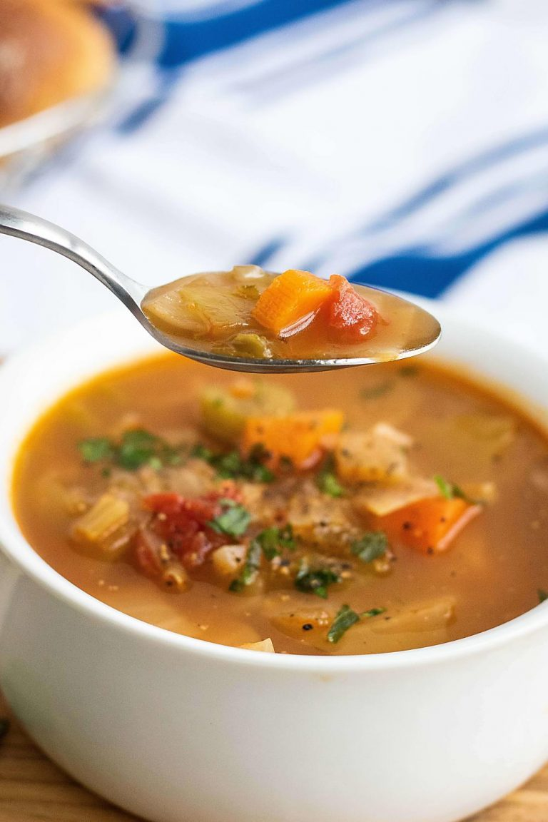 A spoon full of cabbage soup
